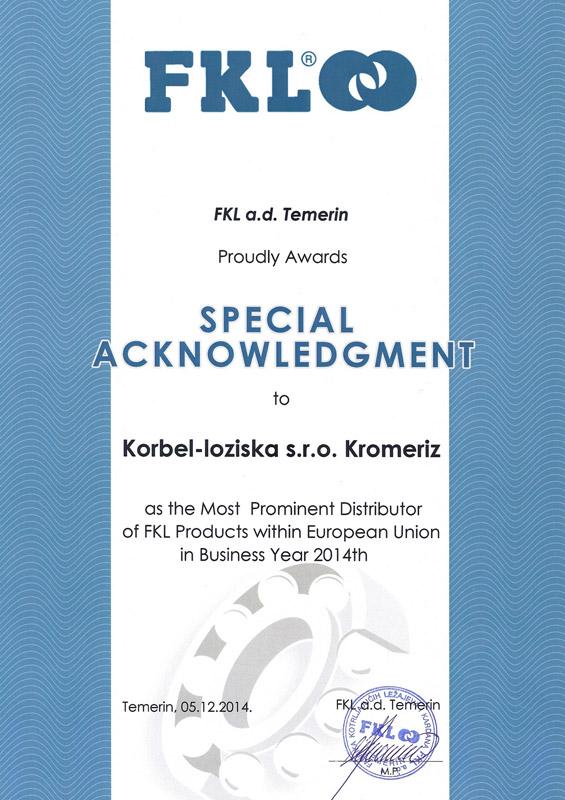 Korbel - ložiska, s. r. o. - distributor roku 2014