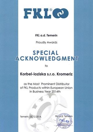 Jsme distributor roku FKL pro rok 2014. Děkujeme!